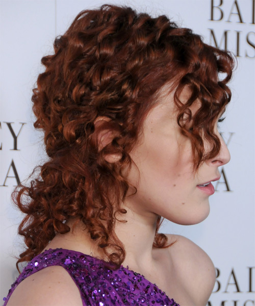 Rumer Willis Casual Curly Half Up Hairstyle - Dark Red - side view 1