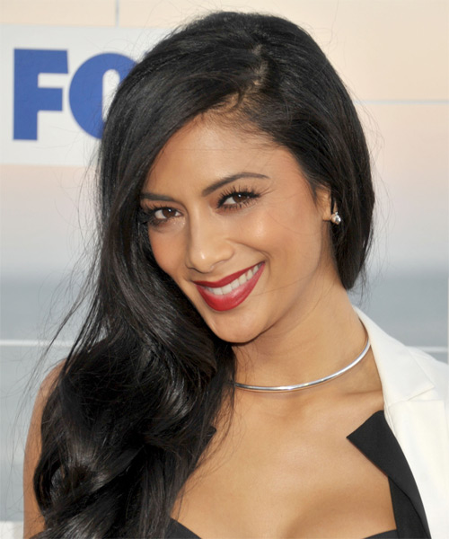 Nicole Scherzinger Long Straight Hairstyle - Black - side view