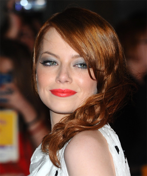 Emma Stone Long Wavy Hairstyle - Medium Brunette (Copper) - side view