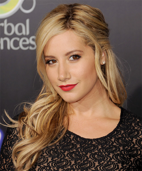 Ashley Tisdale Curly Casual Half Up Hairstyle - Dark Blonde (Golden) Hair Color - side view
