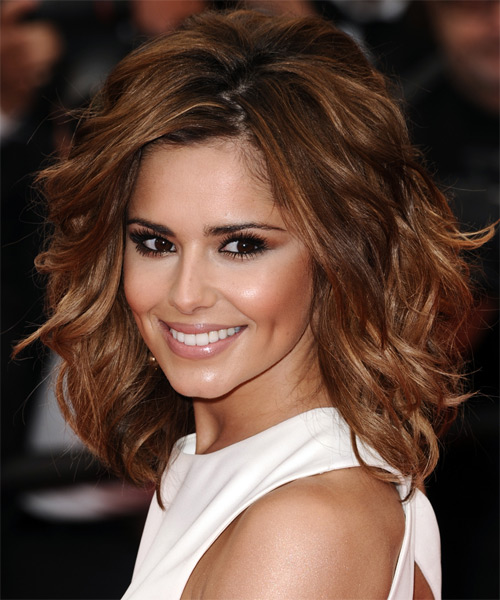 Cheryl Cole Medium Wavy Hairstyle - Medium Brunette (Auburn) - side view