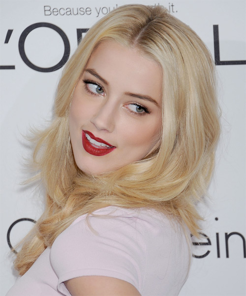 Amber Heard Long Straight Hairstyle - Light Blonde (Golden) - side view