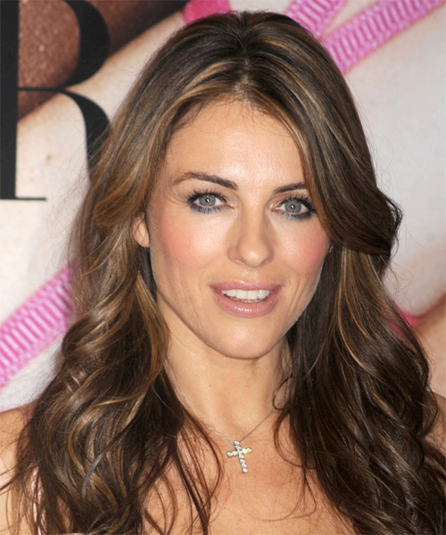 Elizabeth Hurley Long Wavy Formal Hairstyle - Medium Brunette (Chestnut)