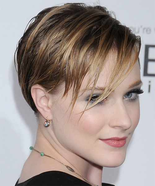 Evan Rachel Wood Short Straight Casual  with Side Swept Bangs - Light Brunette (Caramel) - side view