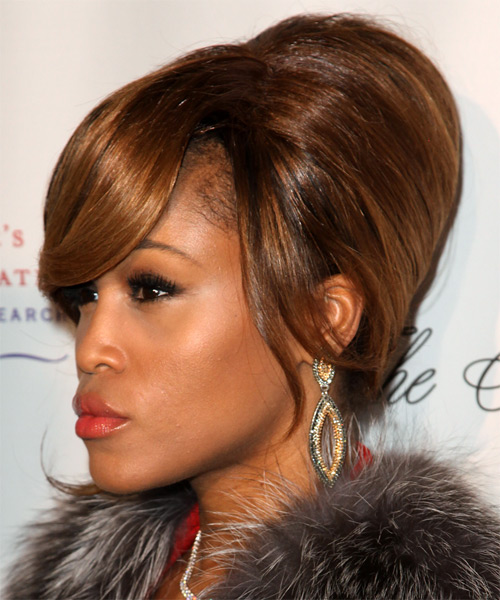 Eve Straight Formal Updo Hairstyle with Side Swept Bangs - Medium Brunette (Copper) Hair Color - side view