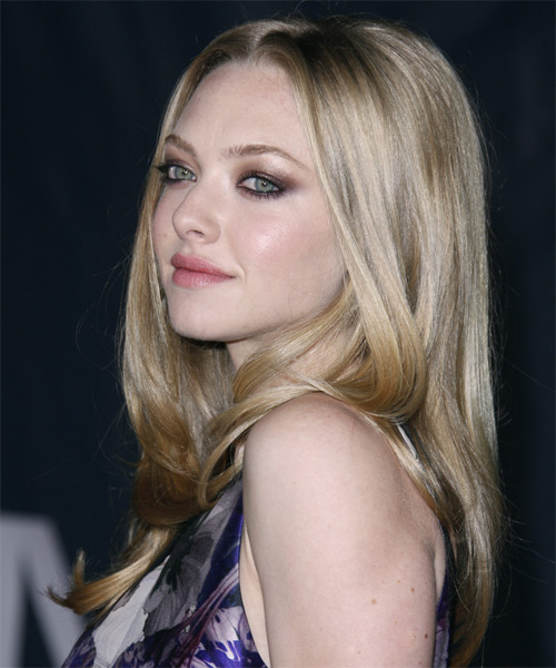 Amanda Seyfried Long Straight Hairstyle - Light Blonde (Champagne) - side view