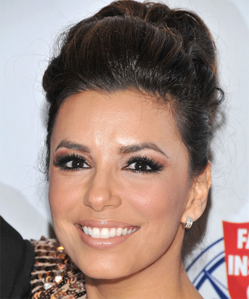 Eva Longoria Parker Curly Formal Updo Hairstyle (Mocha) - side view