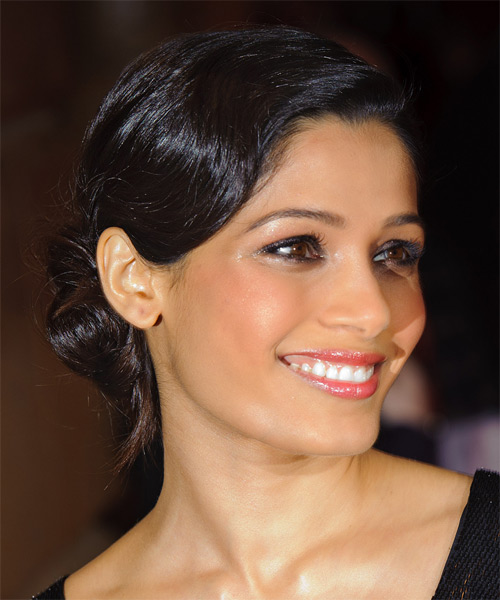 Freida Pinto - Formal Updo Long Straight Hairstyle - side view