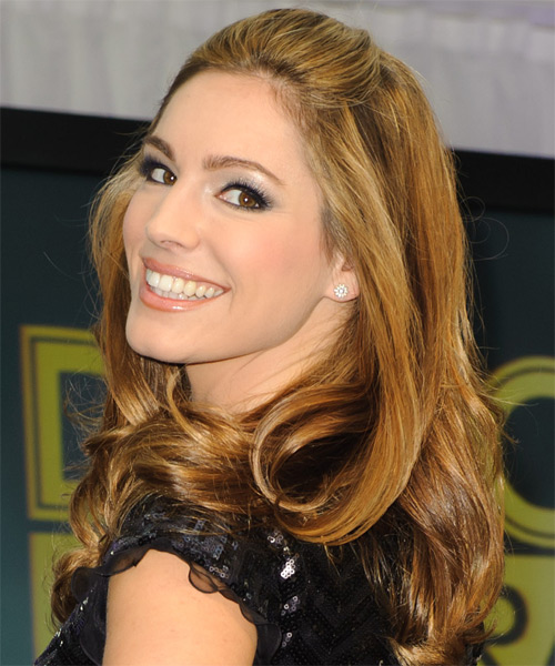 Kelly Brook Medium Wavy Hairstyle - Dark Blonde - side view 1