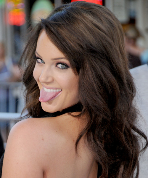 Lacey Schwimmer Long Wavy Hairstyle - Medium Brunette (Mocha) - side view