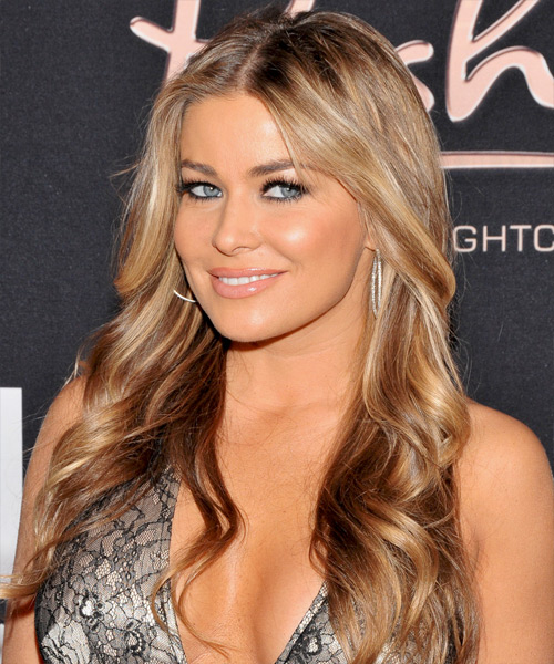 Carmen Electra Long Wavy Hairstyle - Light Brunette (Caramel) - side view