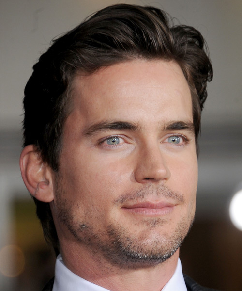 Matt Bomer Short Straight Hairstyle - Dark Brunette (Mocha) - side view 1