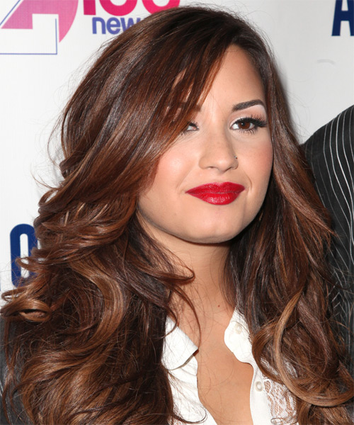 Demi Lovato Long Wavy Hairstyle - Dark Brunette (Auburn) - side view 1