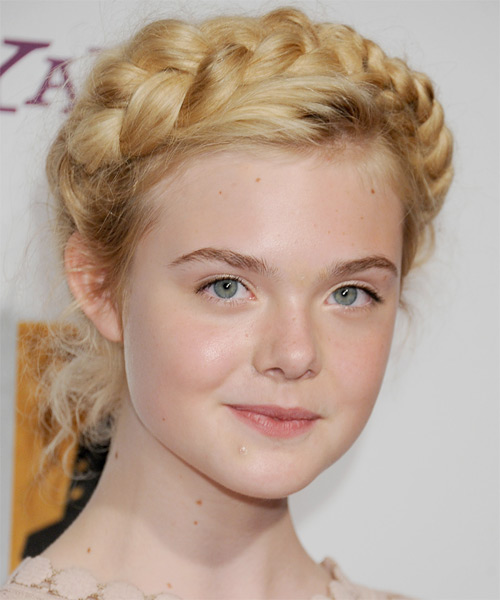 Awe Inspiring Elle Fanning Updo Curly Formal Braided Hairstyle Light Blonde Hairstyles For Men Maxibearus