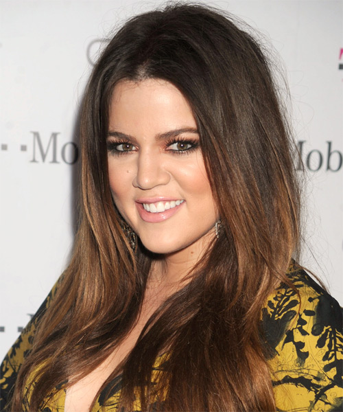 Khloe Kardashian Long Straight Casual  - Dark Brunette (Mocha) - side view