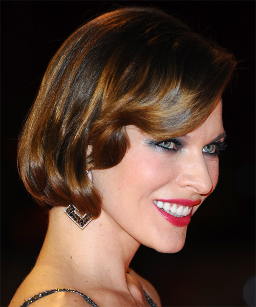 Milla Jovovich Short Straight Formal Hairstyle with Side Swept Bangs - Medium Brunette Hair Color - side view