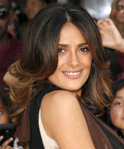 Salma Hayek Long Wavy Hairstyle - Dark Brunette (Mocha) - side view