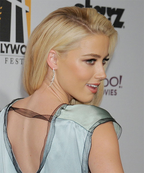 Amber Heard Long Straight Hairstyle - Light Blonde - side view 1