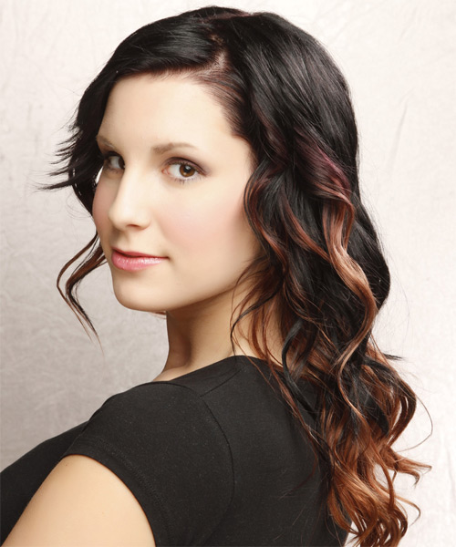 Long Wavy Casual Hairstyle - Black (Copper) Hair Color - side view