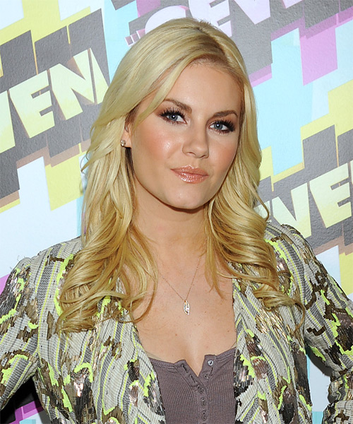 Elisha Cuthbert Long Wavy Hairstyle - Light Blonde (Honey) - side view