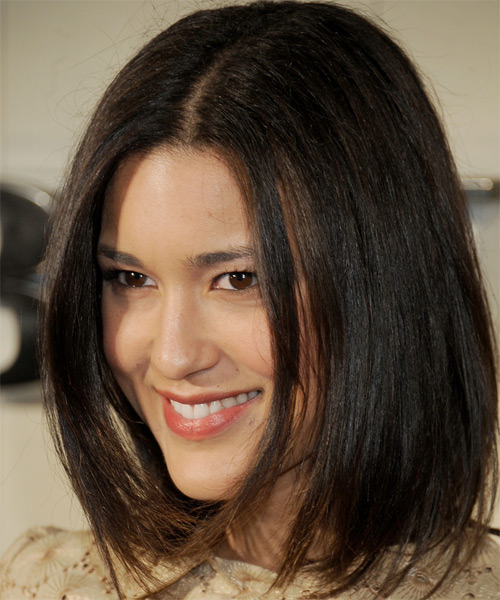 Julia Jones Medium Straight Hairstyle - Medium Brunette (Chestnut) - side view