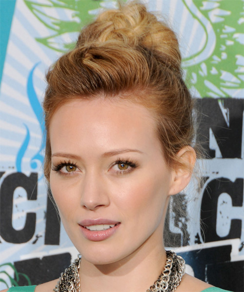 Hilary Duff Casual Curly Updo Hairstyle - Dark Blonde (Copper) - side view 1