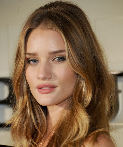 Rosie Huntington-Whiteley Long Wavy Hairstyle - Dark Blonde (Caramel) - side view 1