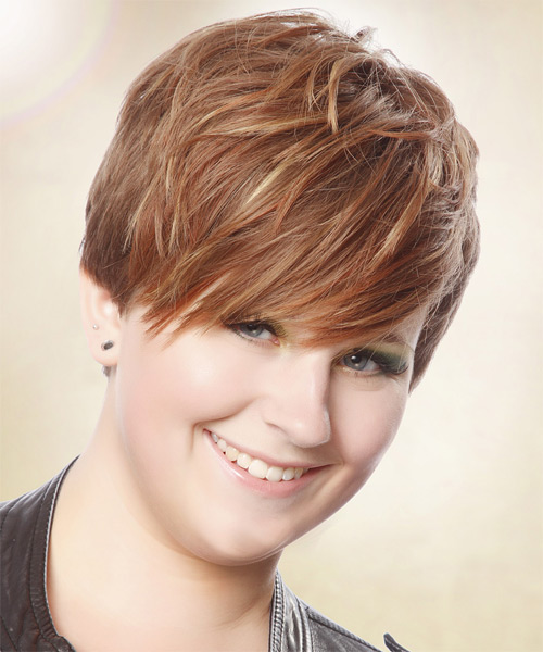 Short Straight Casual Hairstyle with Side Swept Bangs - Light Brunette (Auburn) Hair Color - side view
