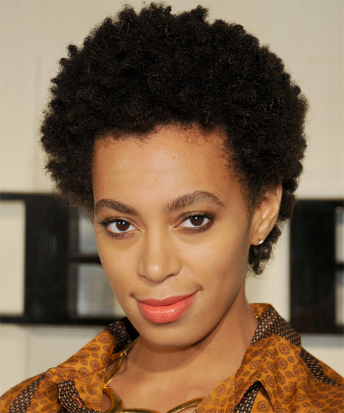 Solange Knowles Short Curly Casual Afro Hairstyle - Black Hair Color - side view