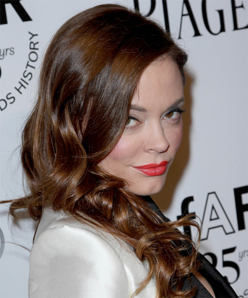 Rose McGowan Long Wavy Hairstyle - Medium Brunette (Chocolate) - side view