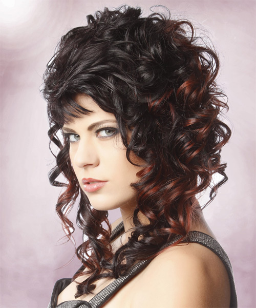 Long Curly Formal Hairstyle with Blunt Cut Bangs - Black Hair Color - side view