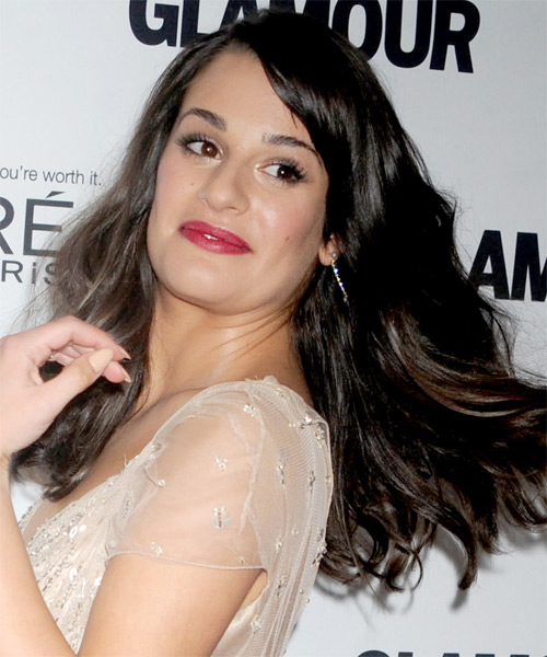 Lea Michele Long Wavy Hairstyle - Dark Brunette (Mocha) - side view