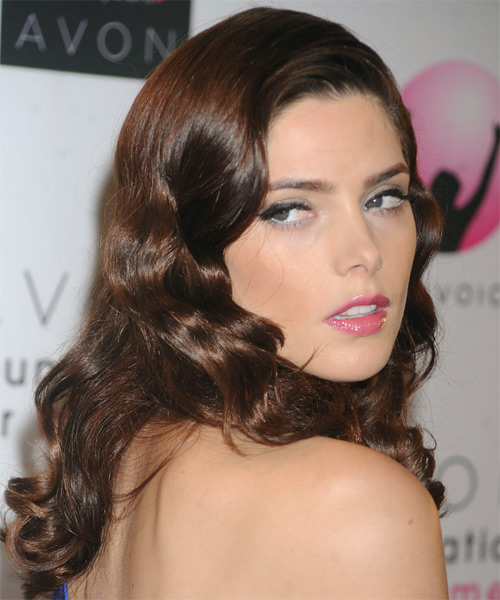 Ashley Greene Long Wavy Hairstyle - Medium Brunette (Chocolate) - side view