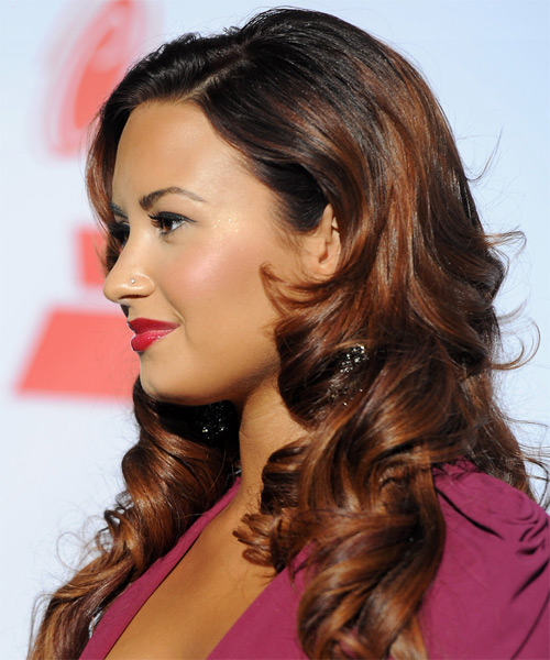 Demi Lovato Long Curly Formal Hairstyle with Side Swept Bangs - Black Hair Color - side view