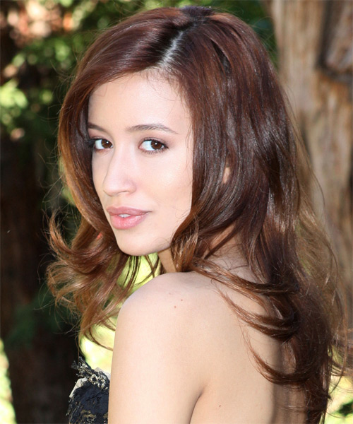 Christian Serratos Long Straight Formal Hairstyle - Dark Brunette Hair Color - side view