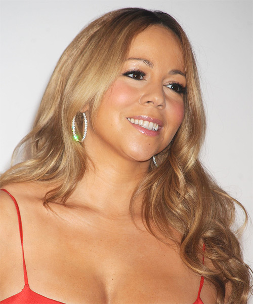 Mariah Carey Long Wavy Hairstyle - Dark Blonde (Caramel) - side view
