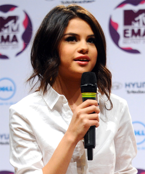 Selena Gomez - Casual Half Up Long Curly Hairstyle - side view