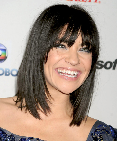Jessica Szohr Medium Straight Casual Bob Hairstyle with Layered Bangs - Black Hair Color - side view
