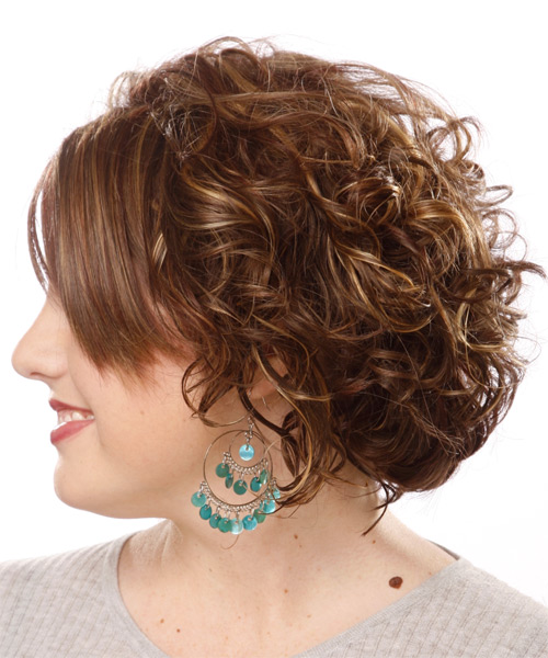Medium Wavy Formal Hairstyle with Side Swept Bangs - Medium Brunette (Chocolate) Hair Color - side view