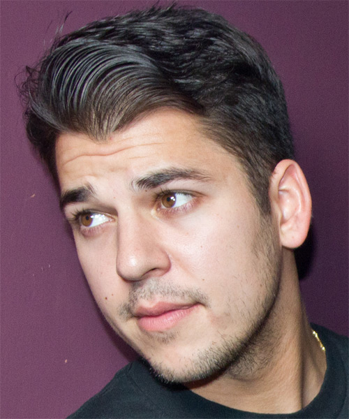 Robert Kardashian Jr Short Straight Hairstyle - Dark Brunette - side view 1