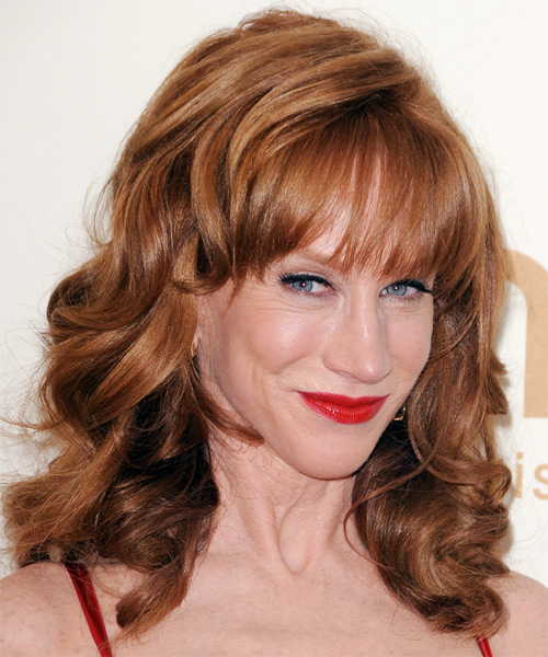 Kathy Griffin Medium Wavy Formal Hairstyle - Medium Brunette (Copper) - side view
