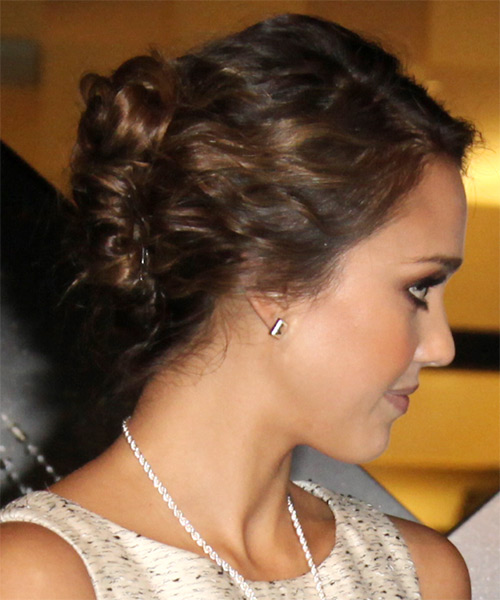 Jessica Alba Formal Curly Updo Hairstyle - Dark Brunette - side view