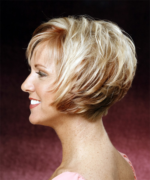 Short Straight Formal Hairstyle - Light Blonde - side view