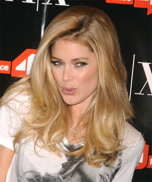 Doutzen Kroes Long Straight Casual Hairstyle - Medium Blonde Hair Color - side view