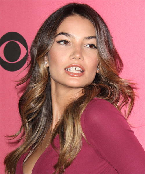 Lily Aldridge Long Wavy Formal  - Medium Brunette - side view