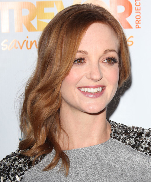Jayma Mays Long Wavy Hairstyle - Light Brunette (Copper) - side view 1