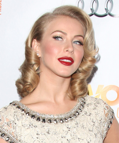 Julianne Hough Medium Curly Bob Hairstyle - Light Blonde (Champagne) - side view