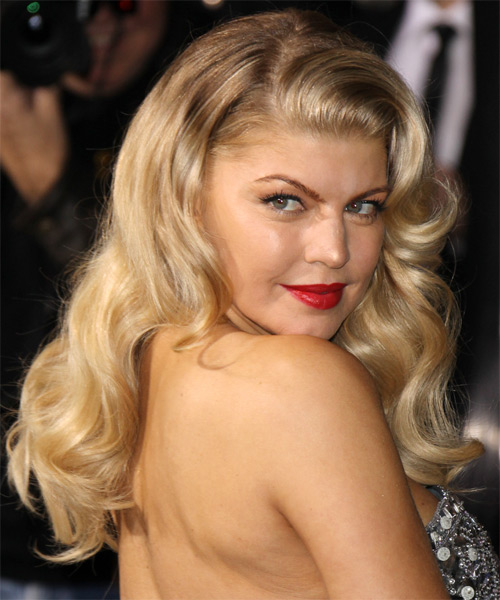 Fergie Long Wavy Hairstyle - Medium Blonde (Honey) - side view