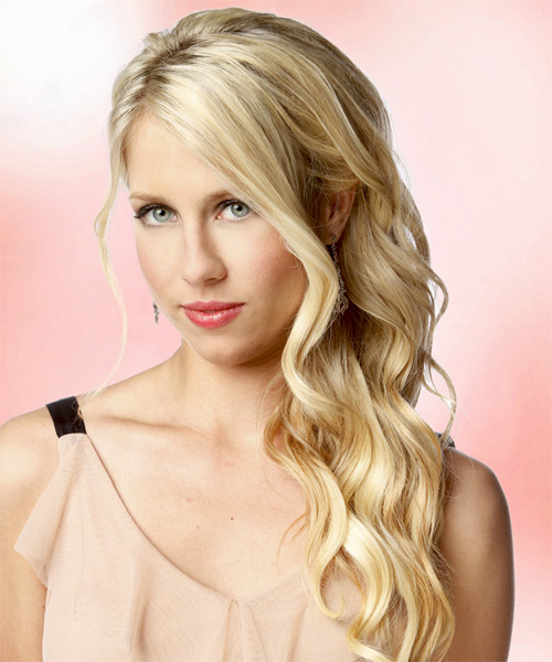 Long Wavy Formal Hairstyle - Light Blonde (Golden) - side view 1