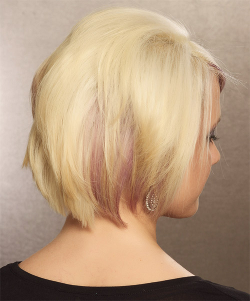 Short Straight Formal Bob with Side Swept Bangs (Golden) - side view